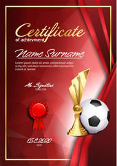 Soccer Certificate Diploma With Golden Cup Vector. Sport Graduate Champion. Best Prize. Winner Trophy. A4 Vertical. Event Illustration