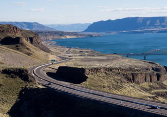VIew of Columbia river and I-90 Vantage bridge in Washintong state from Wild Horse viewpoint