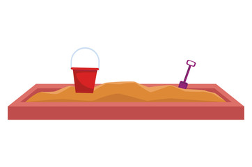 Sand box with bucket and shovel