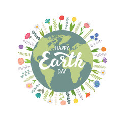 The Earth is surrounded by flowers, Happy Earth Day. Vector illustration on white isolated background