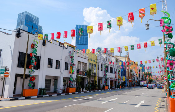 Chinatown district in Singapore. Singapore city street view.