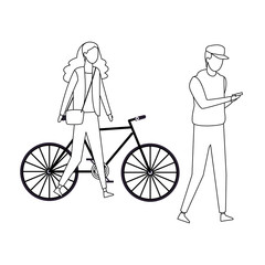 Couple walking with bike black and white