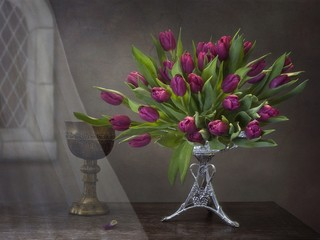 Still life with luxurious bouquet of spring tulips