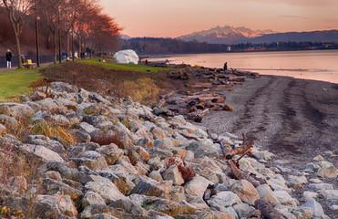Sunset at White Rock Beach, British Columbia, Canada