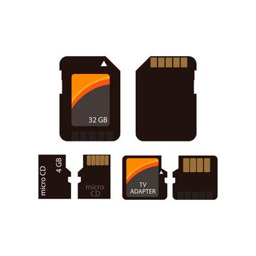 Memory card icon set