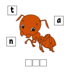 Brown ant. Words puzzle. Education developing worksheet. Game for kids. Activity page. Puzzle for children. Riddle for preschool. Simple flat isolated vector illustration in cute cartoon style.