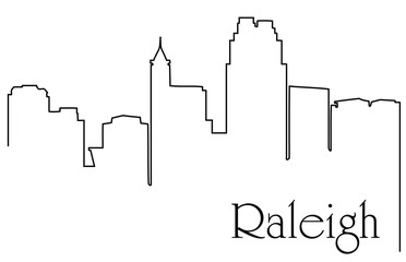 Raleigh city one line drawing abstract background with cityscape