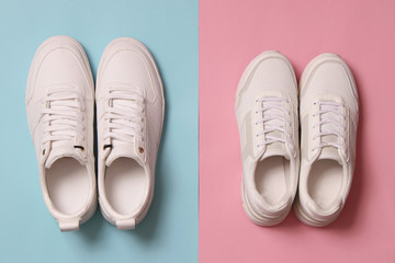 Men's and women's sneakers on a colored background top view. Sport shoes. White running shoes