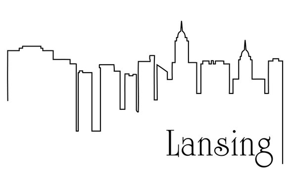 Lansing city one line drawing abstract background with cityscape