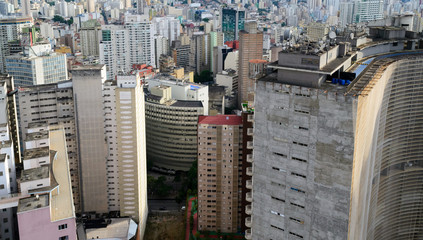 Aerial view of Sao Paulo in Brazil, downtown district seen from the top of one of the highest building of this city