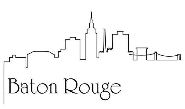 Baton Rouge city one line drawing abstract background with cityscape