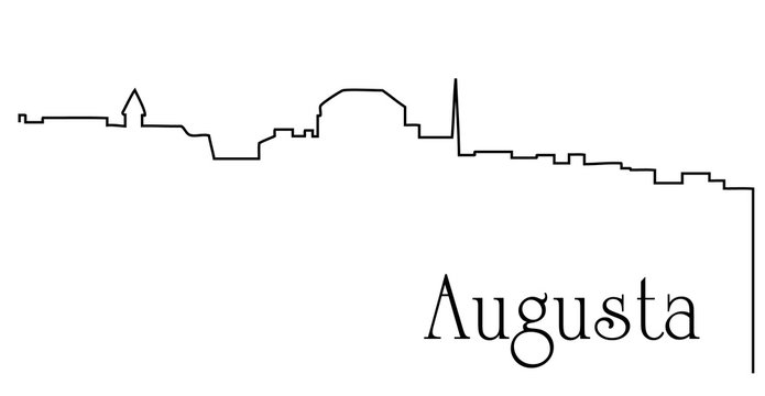Augusta city one line drawing abstract background with cityscape
