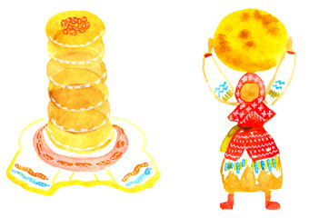 Shrove tuesday hand drawn watercolor. Shrovetide carnival russian simbols of coming spring holiday. Stack of pancakes on a plate and tablecloth with embroidery and ragdoll in red dress folk costume