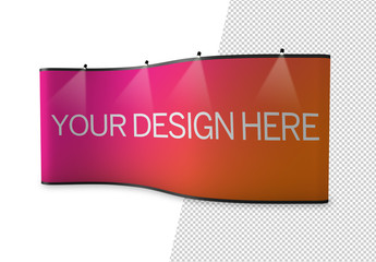 Curved Pop-Up Banner with Overhead Lights Mockup
