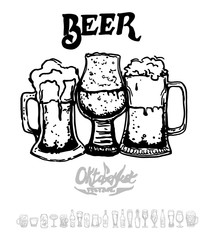 Set of beer objects. Hand drawn illustration. Set of craft beer bottles in ink hand drawn style.