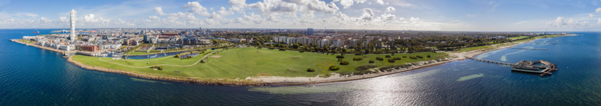 Drone view on Malmö, Sweden