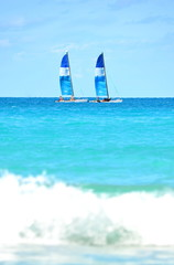 Snorkeling catamaran boats on the open sea in the Caribbean