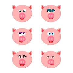 Collection of funny pig emoticon characters