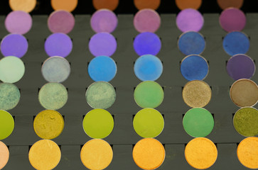 Colorful display palette of round make-up