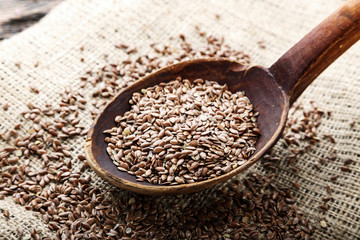 Flax seeds. Top view