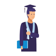 Student with graduation gown and hat