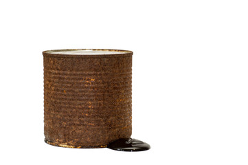 Rusty brown barrel with toxic waste leakage isolated on white background.