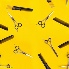 Abstract seamless texture of hairdressing tools. Isolated on yellow background