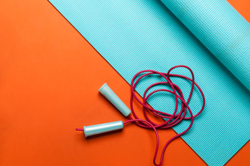 fitness mat with jump rope