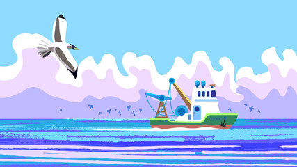 Vector picture vich colorful seascape, beuaty fishing ship works in open sea, and gulls are looking for fish