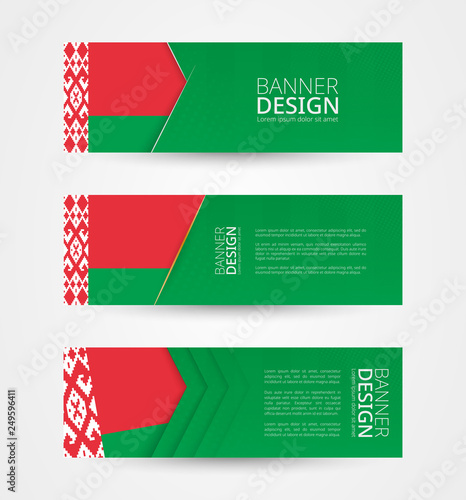 Set of three horizontal banners with flag of Belarus  Web banner