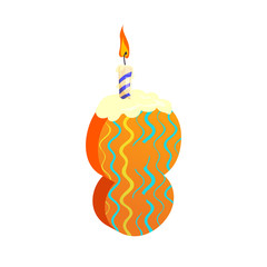 Number eight candle illustration