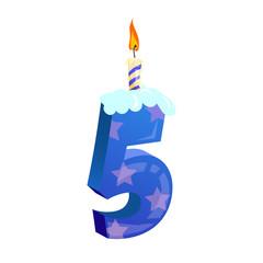 Number five candle illustration