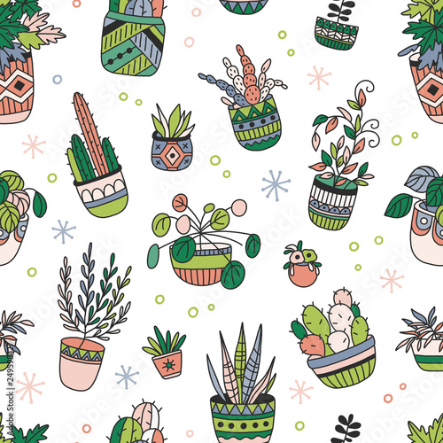 House Plants Color Hand Drawn Seamless Pattern Simple Elegant