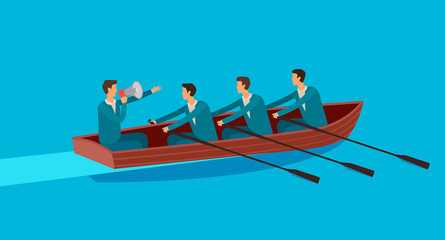Team work. Business, teamwork, achieving goal concept. Vector illustration