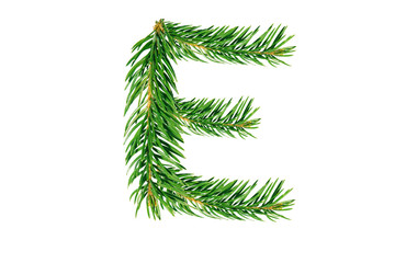 Letter E, English alphabet, collected from Christmas tree branches, green fir. Isolated on white background. Concept: ABC, design, logo, title, text, word