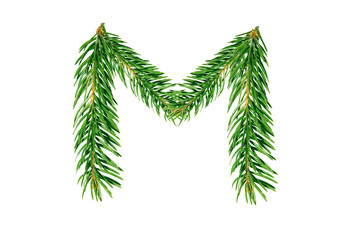 Letter M, English alphabet, collected from Christmas tree branches, green fir. Isolated on white background. Concept: ABC, design, logo, title, text, word