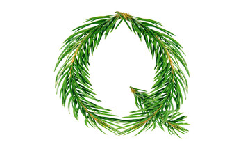Letter Q, English alphabet, collected from Christmas tree branches, green fir. Isolated on white background. Concept: ABC, design, logo, title, text, word