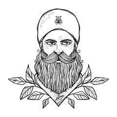 The man with a beard and leaves. Modern character illustration. Nice print or emblem. Contemporary graphic artwork.