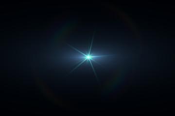 Anamorphic Lens Flare on Black Background