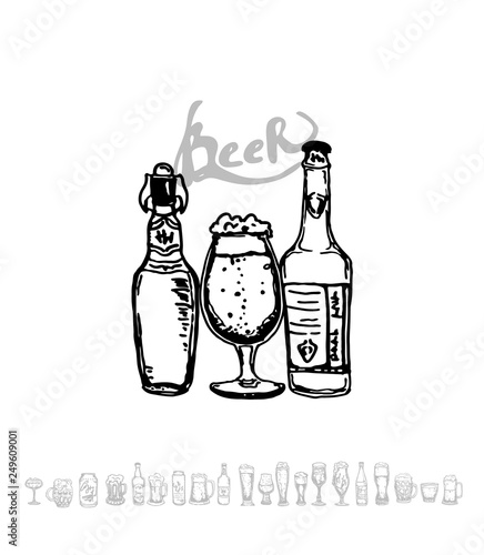 Set Of Beer Objects Hand Drawn Vector Illustration Vector Set Of