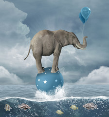 Concept of freedom portrayed by a surreal elephant – 3D illustration