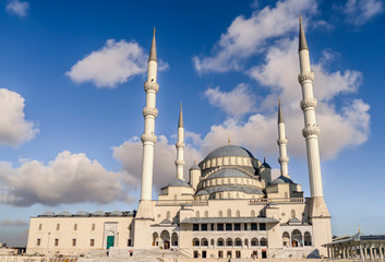 Ankara-Turkey kocatepe mosque lanscape view with blue sky and clouds