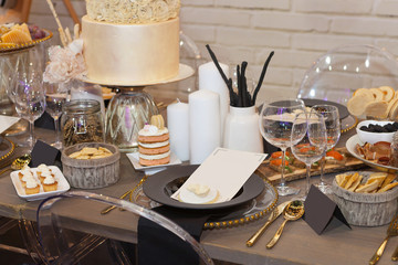 Close up of a fully set banquet table