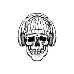 Human skull in hip-hop or rap style headwear - knit hat and headphones in sketch style.