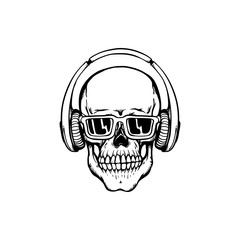 Human skull with headphones and sunglasses in sketch style isolated on white background.