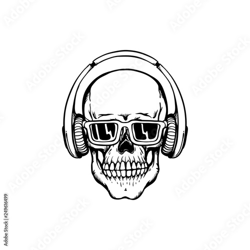 1442037e0c7 Human skull with headphones and sunglasses in sketch style isolated on  white background.