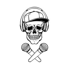 Vector skull in headphones cap crossed microphones