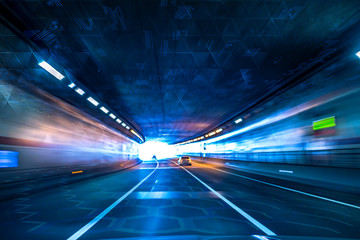 Fototapeta A hypothetical automobile tunnel that I imagined and designed for the future. obraz