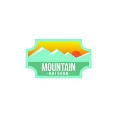 Vintage logo badge mountain outdoor label expedition camp & hiking vector illustration emblem isolated element adventure
