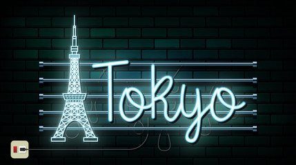 Japan Travel And Journey neon light background. Vector Design Template.used for your advertisement, book, banner, template, travel business or presentation.